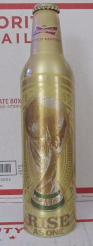 2014 Budweiser Beer FIFA World CUP SOCCER RISE AS ONE Aluminum Empty Bottle