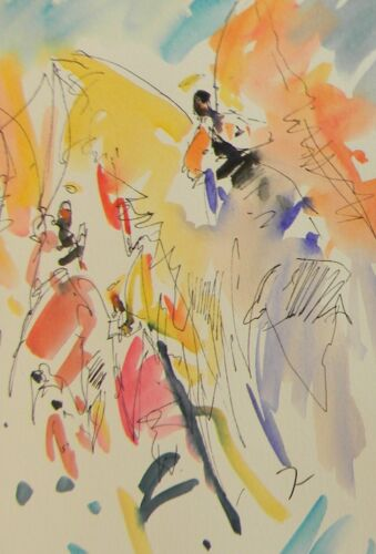 JOSE TRUJILLO ORIGINAL Watercolor Painting SIGNED Angels Abstract Expressionism