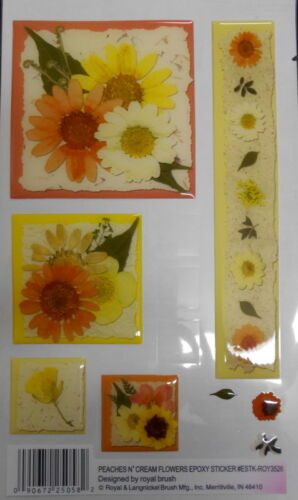 "3D Epoxy Stickers PEACHES N"" CREAM FLOWERS  -SCRAPBOOKING/CARDMAKING"