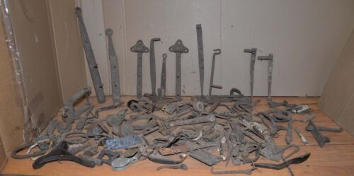 60+ lbs antique blacksmith forged hardware barn farm collectible hinges & more