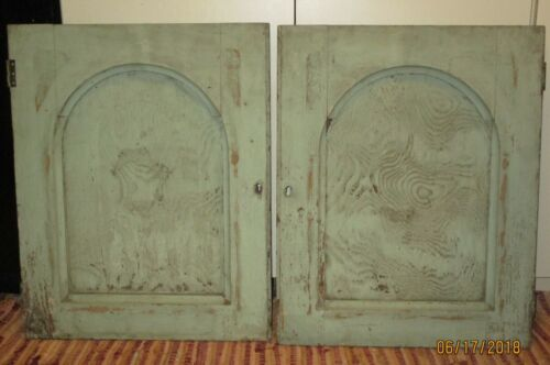 2 Antique GOTHIC ARCH CUPBOARD DOORS original Old GREEN PAINT 24x19 Oak Wood