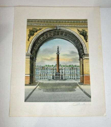 Vintage Original Architectural Signed Watercolor Stately Building Arch & Column