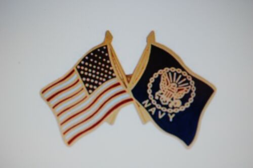 US USA USN Navy and American Flags Military Hat Lapel PinOther Militaria - 135