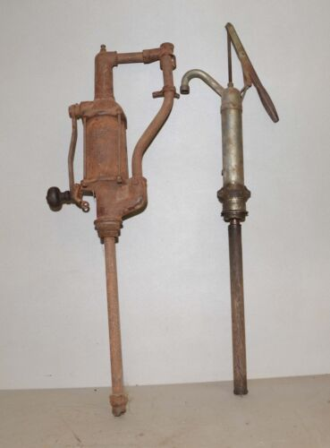2 antique farm pumps gas oil water collectible garage tool primitive display lot