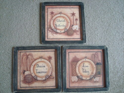 """Primitive Country Prints **3 PLATES WITH SAYINGS**  3 black frame 9"""" x 9"""""""
