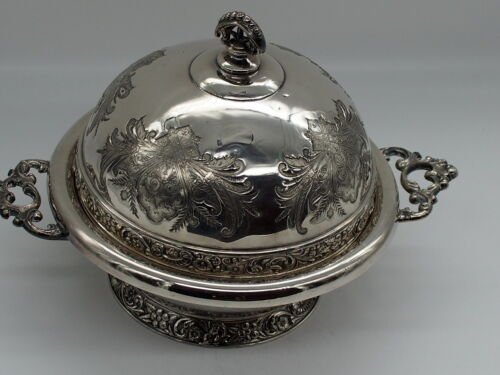 Silver Plated Dome Top Butter Dish 7804 by J.S Wilcox U.S.A 1900 - 1920