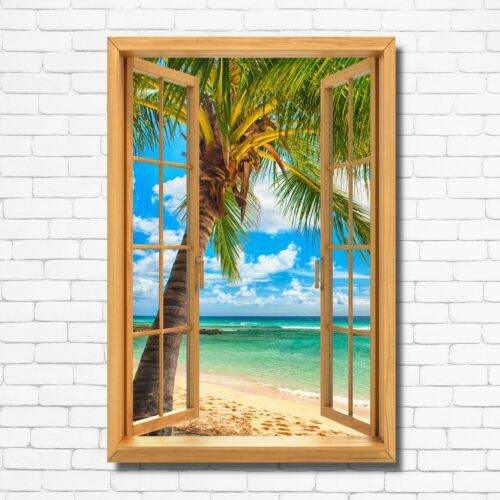 Window View Palm Tree Beach Ocean Sky Wall Art Decor Print CANVAS POSTER M