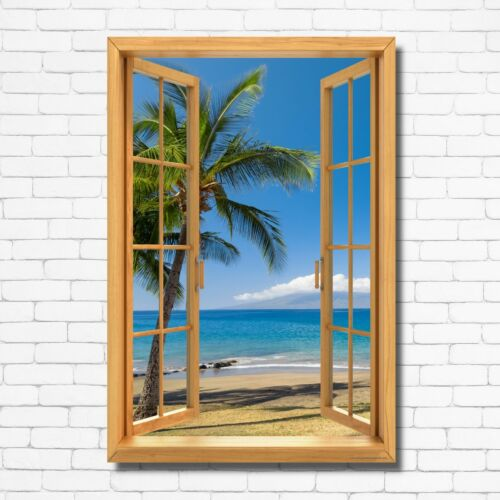 Window View Palm Tree Beach Ocean Sky Wall Art Decor Print CANVAS POSTER P