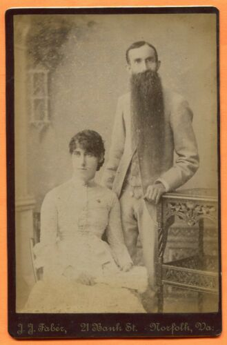 Norfolk, VA, Portrait of a Long Bearded Man & His Wife, by Faber, circa 1880s