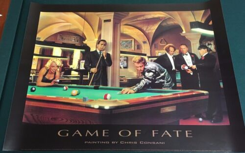 """GAME OF FATE by Chris Consani (1997) vintage 24"""" x 32"""" print The Three Stooges"""