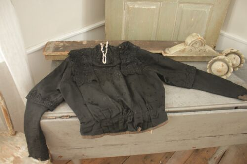 Victorian Antique black lace French bodice woman's clothing mourning ?