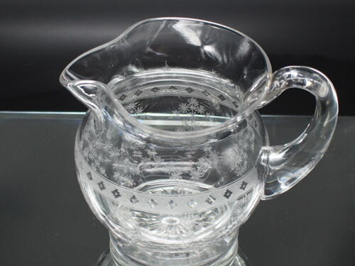 American Etched/Engaved Crystal Jug c1935