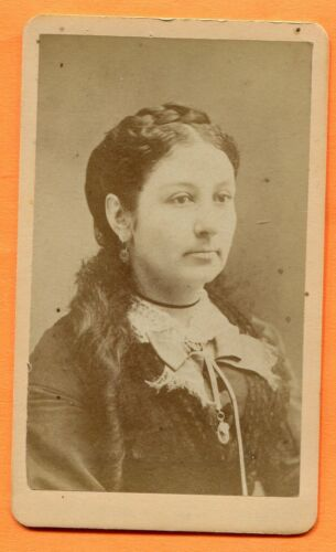 CDV Waltham, MA, Portrait of a Young Woman, by Day, circa 1870s Backstamp