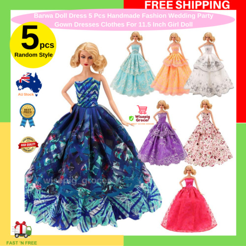 5 Pcs Handmade Fashion Wedding Party Gown Dresses & Clothes For Barbie Doll Gift <br/> Doll Dress For 11.5 Inch Girl Doll Random Styles NEW AU