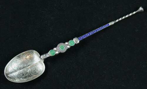 ENGLISH STERLING SILVER & ENAMEL 1901 ANNOINTING SPOON, EDWARD VII