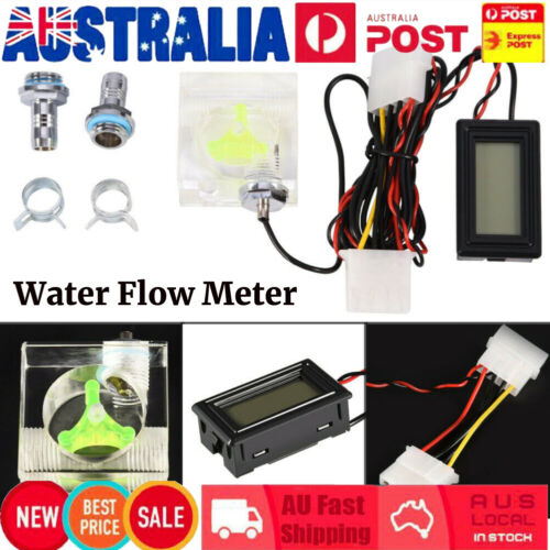 3 Way PC Water Cooling Cooler Flow Meter W/Digital Thermometer G1/4 Fitting Nice