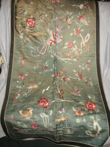 """Antique CHINESE SILK TAPESTRY PANEL Embroidered Wall Hanging 52"""" x 30"""""""