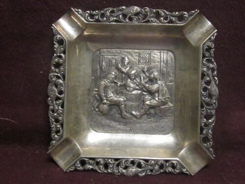 ".835 Silver German Tavern ASHTRAY 3 1/4"" x 3 1/4""  46g"