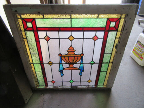 ~ ANTIQUE STAINED GLASS WINDOW URN ~ 34.5 X 33.5 ~ ARCHITECTURAL SALVAGE ~