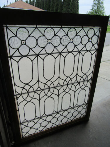 ~ ANTIQUE STAINED GLASS WINDOW WITH FLOWERS ~ 36 X 47.5 ~ ARCHITECTURAL SALVAGE