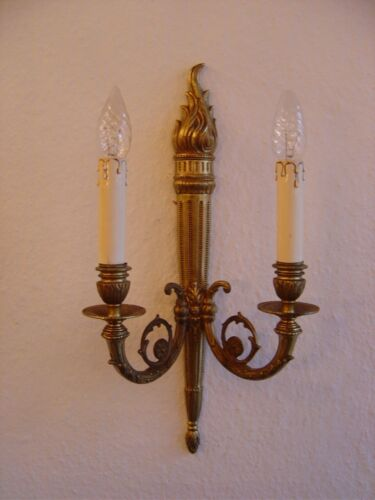 large wall lamps empire pair brass finish sconces old appliques 2 lights 3x