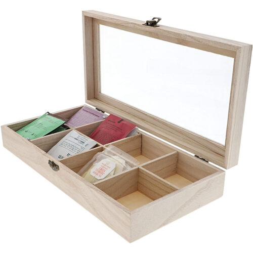 Unfinished Wood Tea Box Storage Organizer With 8 Compartments, 12.5 X 6 X 2
