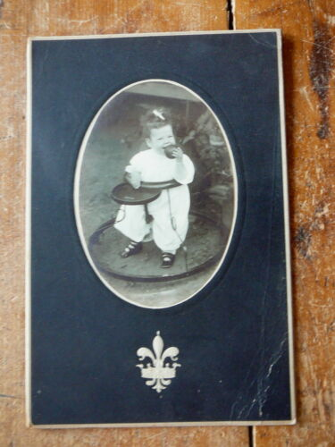 ANTIQUE CABINET PHOTO -  CUTE LITTLE GIRL IN WOODEN WALKER WITH BALL