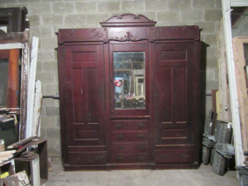 ~ ANTIQUE CARVED OAK CLOSET FRONT~ BUILT IN ARMOIRE~ 88 x 98 ~ SALVAGE