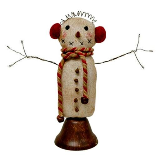 Primitive ~ Fabric~~ Snowman on Ringing  Bell`~~Dinner Bell