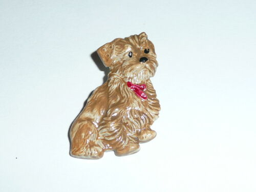"""Adorable Brown Dog with Red Collar Metal Shank Button  7/8"""" x 1"""""""