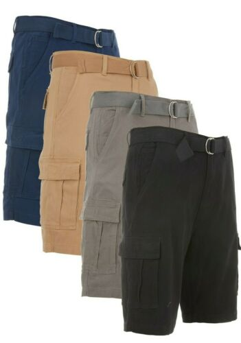 Men's Cargo Shorts Casual Cotton Twill Multi Pockets Lightweight Outdoor Belted <br/> Fast Free Shipping + Free Returns On All Orders!!