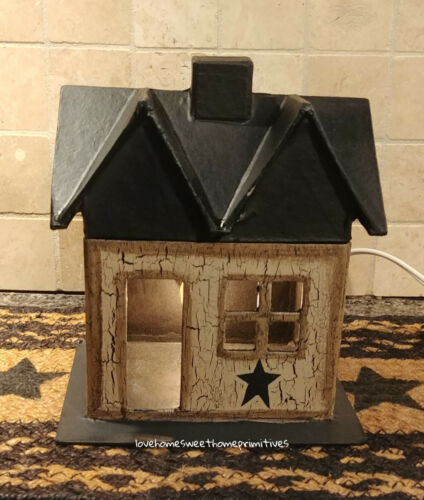 Primitive Crackle Tan & Black Star Lighted Small House Country Decor
