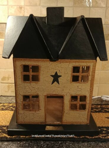 Primitive Crackle Tan & Black Star Lighted Large House Country Decor