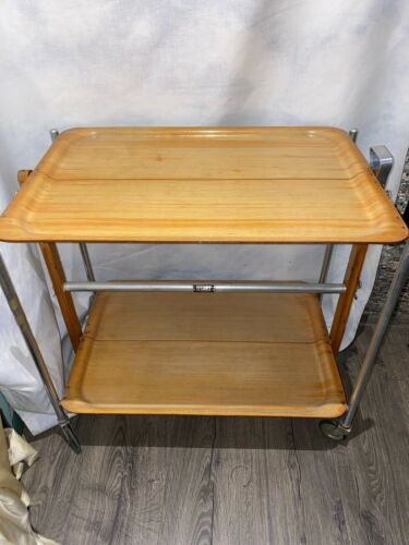 FRENCH MODERNIST ROLLING BAR/CART/TROLLY TEXTABLE MID CENTURY
