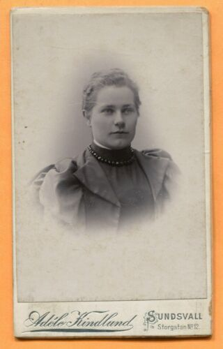 CDV Lundsvall, Sweden, Portrait of a Young Woman, by Adele Kindlund, circa 1890s
