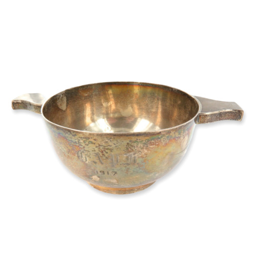 1916 HEAVY SET ENGLISH STERLING SILVER PORRINGER / TWIN HANDLE BOWL.