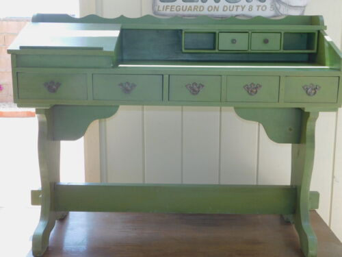 VINTAGE MID CENTURY ANTIQUED GREEN WOODEN WOOD DESK MISSION STYLE