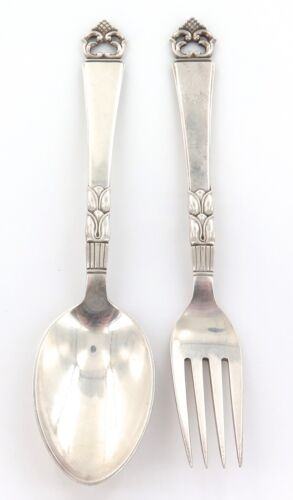 .QUALITY MATCHING SPOON & FORK SET .830 DANISH SILVER.