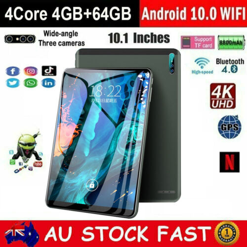 10.1 inch Android 10.0 4GB+64GB HD Tablet PC WiFi Bluetooth GPS Dual Camera PAD