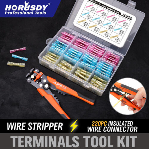 221Pc Heat Shrink Butt Wire Crimp Kit 5in1 Stripper Insulated Connector Terminal