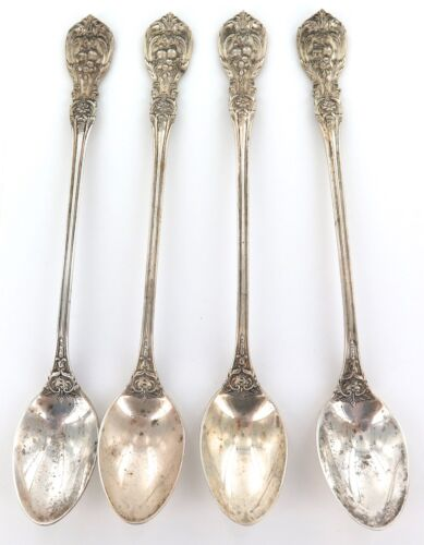 """.1907 USA REED & BARTON """"FRANCIS I"""" PATTERN STERLING SILVER SET 4 ICED TEASPOONS"""