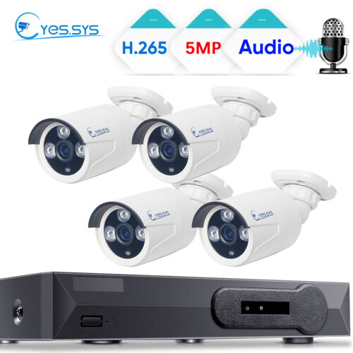 Eyes.sys 4PCS HD 5MP ARRAY LED Audio HD Camera 4CH POE NVR CCTV Security System