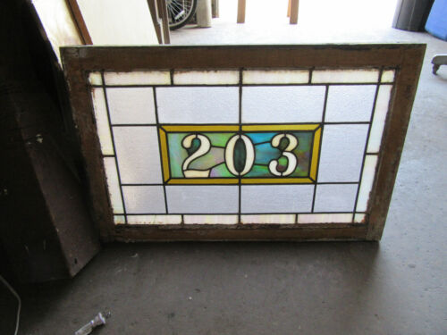 ~ ANTIQUE STAINED GLASS TRANSOM WINDOW ~ 32 x 21 ~ ADDRESS 203 ~ SALVAGE