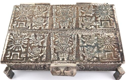 .VINTAGE HEAVY SET .925 STERLING SILVER PERUVIAN INCAN TRINKET BOX.