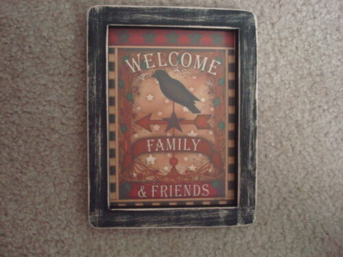 """Primitive Country Print **CROW--WELCOME** black frame 8 1/2"""" x 11 1/2"""""""