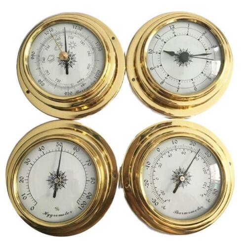 4 Inches 4 PCS/set Thermometer Hygrometer Barometer Watches Clock Copper Shell