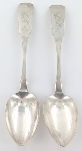 RARE USA 1831 - 1837 GORHAM & WEBSTER 2 LARGE COIN SILVER TABLESPOONS