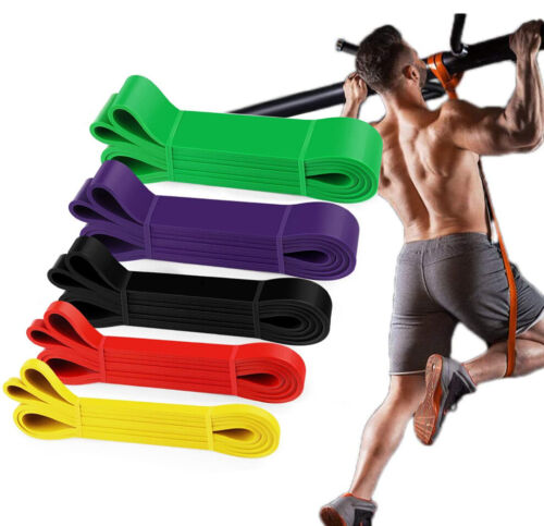 SET of 5 Heavy Duty Resistance Yoga bands loop Exercise Fitness Workout Band Gym