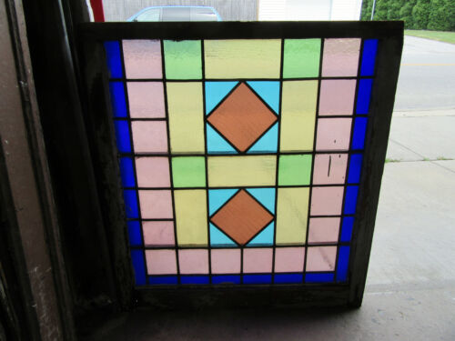 ~ ANTIQUE STAINED GLASS WINDOW ~ 34 x 37 ~ ARCHITECTURAL SALVAGE
