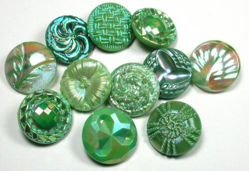 11 Vintage Glass Buttons Green with Carnival Luster Designs - 11/16""